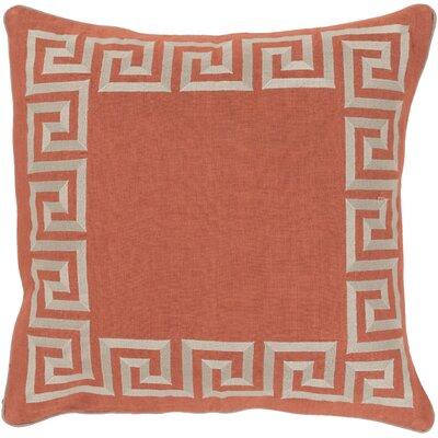 Jans Linen Throw Pillow Size: 18 H x 18 W x 4 D, Color: Rust, Filler: Down