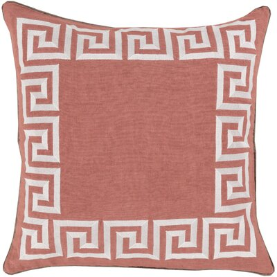 Jans Linen Throw Pillow Size: 18 H x 18 W x 4 D, Color: Salmon, Filler: Down