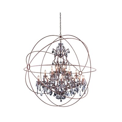 Svante 25-Light Foyer Pendant Crystal: Golden Teak (Smoky), Finish: Polished Nickel