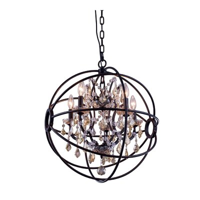 Svante 5-Light Foyer Pendant Finish: Polished Nickel, Crystal: Golden Teak (Smoky)