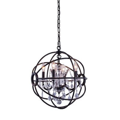 Svante 4-Light Globe Pendant Crystal: Golden Teak (Smoky), Finish: Dark Bronze
