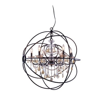 Svante 6-Light Foyer Pendant Crystal: Golden Teak (Smoky), Finish: Polished Nickel