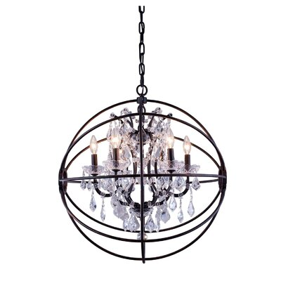 Svante 6-Light Metal Shade Foyer Pendant Crystal: Silver Shade (Grey), Finish: Polished Nickel