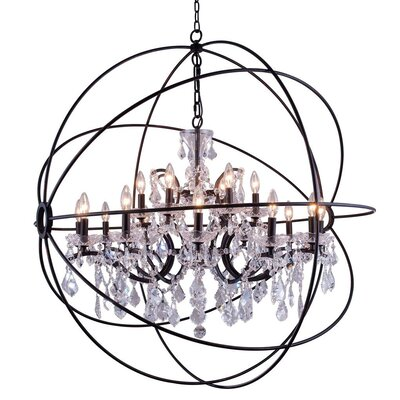 Svante 18-Light Foyer Pendant Crystal: Golden Teak (Smoky), Finish: Polished Nickel