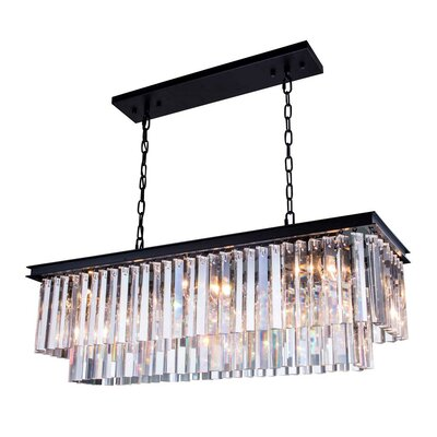 Jens 12-Light Pendant Finish: Polished Nickel, Size: 18 H x 50 W x 14 D, Crystal: Golden Teak (Smoky)