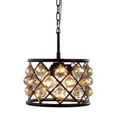 Morion 3-Light Drum Pendant Shade Color: Golden Teak Smoky, Finish: Mocha Brown