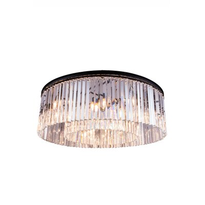 Laperle 10-Light Flush Mount Finish: Polished Nickel, Crystal Color: Golden Teak (Smoky)