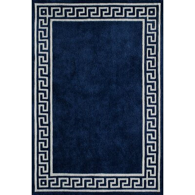 Chantemelle Hand-Tufted Navy/White Area Rug Rug Size: 36 x 56