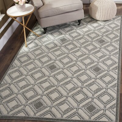 Maritza Ivory/Light Gray Indoor/Outdoor Area Rug Rug Size: Square 7