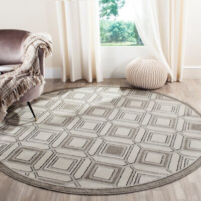 Maritza Ivory/Light Gray Indoor/Outdoor Area Rug Rug Size: Round 7