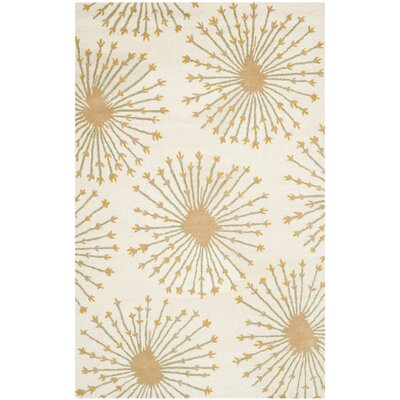 Mcguire Hand-Tufted Wool Beige/Gold Tribal Area Rug Rug Size: Rectangle 5 x 8