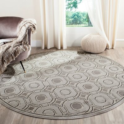 Maritza Light Gray/Ivory Indoor/Outdoor Area Rug Rug Size: Round 7