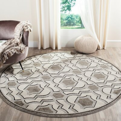 Maritza Wool Ivory/Gray Indoor/Outdoor Area Rug Rug Size: Round 7