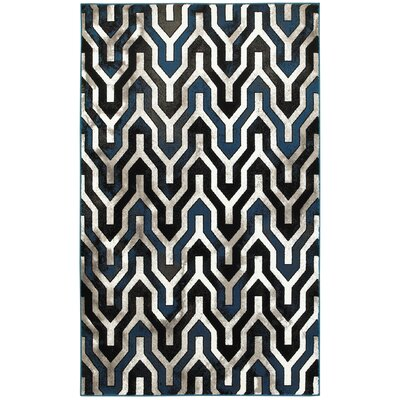 Mesvin Black/Blue Area Rug Rug Size: Rectangle 110 x 31