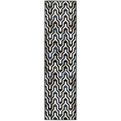Mesvin Black/Blue Area Rug Rug Size: Runner 11 x 71