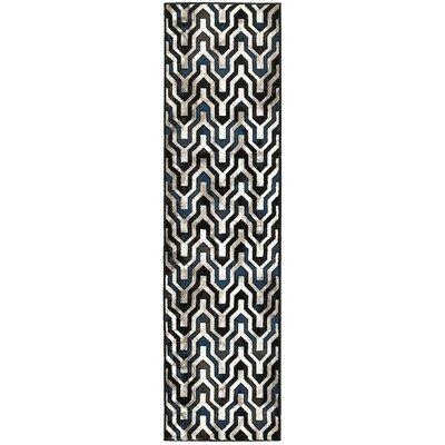 Mesvin Black/Blue Area Rug Rug Size: Runner 110 x 71