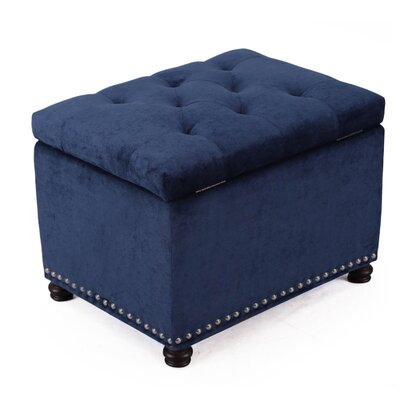 Grove Hill Accents Rectangular Tufted Storage Ottoman Upholstery Color: Dark Blue