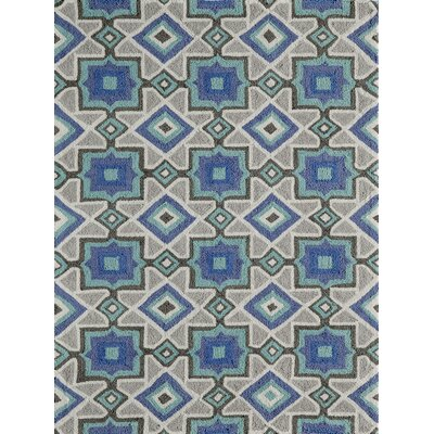 Anwen Hand-Hooked�Indigo Area Rug Rug Size: Rectangle 5 x 7