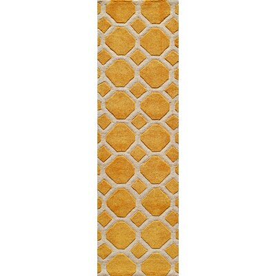 Chance Hand-Tufted Gold Area Rug Rug Size: Runner 23 x 8