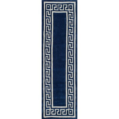 Chantemelle Hand-Tufted Navy/White Area Rug Rug Size: Runner 23 x 8