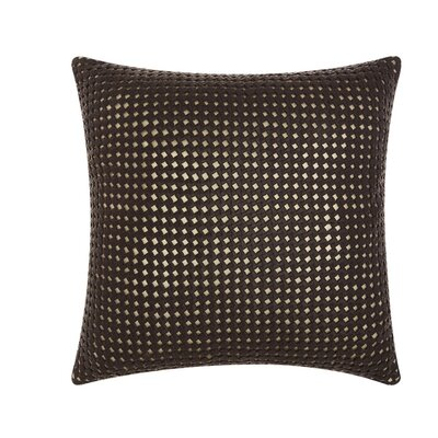 Skyla Woven Metallic Leather Throw Pillow Color: Brown / Gold