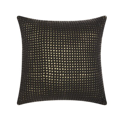 Skyla Woven Metallic Leather Throw Pillow Color: Black / Gold