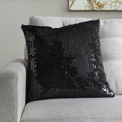 Temple Sequin Pillow Cover in Black