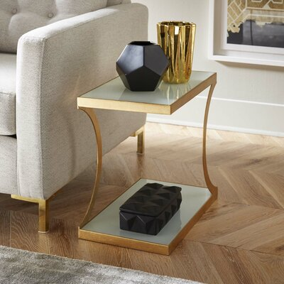 Augusta End Table Finish: Gold/White