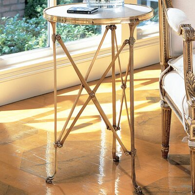 Robillard End Table Finish: Brass & White Marble