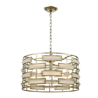 Alida 5-Light Drum Pendant Finish: Silver Leaf