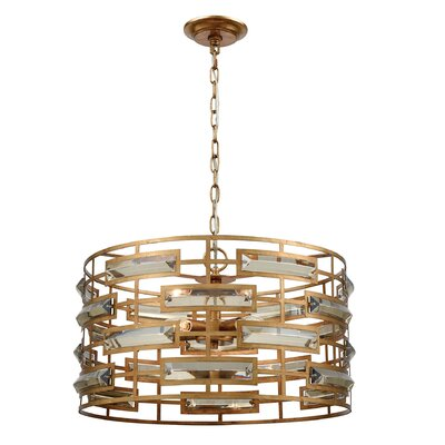 Alida 5-Light Drum Pendant Finish: Gold Leaf