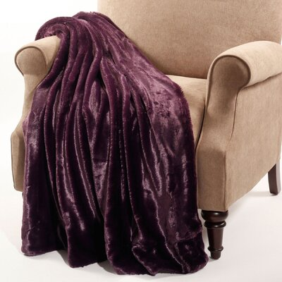 Chatwin Faux Fur Throw Blanket Color: Blackberry