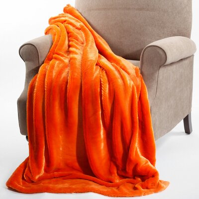 Chatwin Faux Fur Throw Blanket Color: Burnt Orange