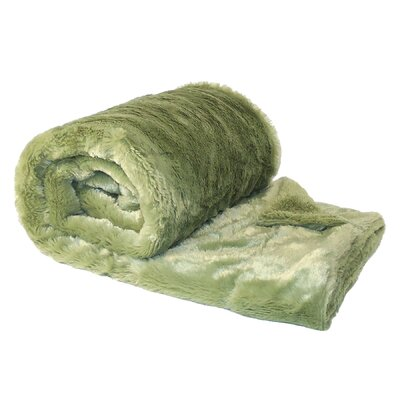 Chatwin Faux Fur Throw Blanket Color: Sage