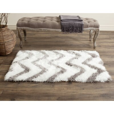 Hempstead Hand-Tufted Gray/White Area Rug Rug Size: Rectangle 2' x 3'