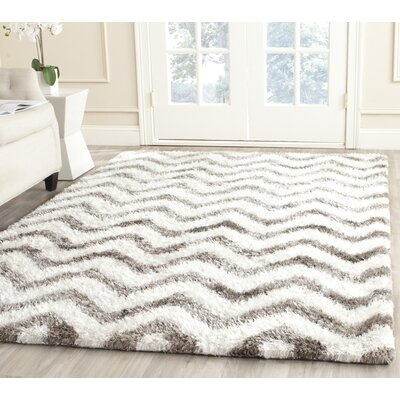 Hempstead Hand-Tufted Gray/White Area Rug Rug Size: Rectangle 5 x 8