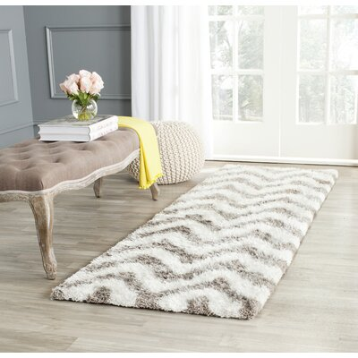 Hempstead Hand-Tufted Gray/White Area Rug Rug Size: Runner 23 x 7
