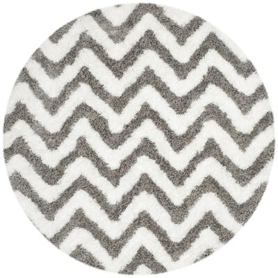 Hempstead Hand-Tufted Gray/White Area Rug Rug Size: Round 5