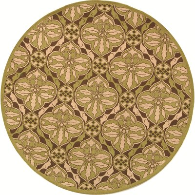 Georgeson Brown / Green Area Rug Rug Size: Round 56