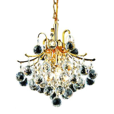 McAllen 3-Light Crystal Chandelier Finish: Gold, Crystal Trim: Royal Cut