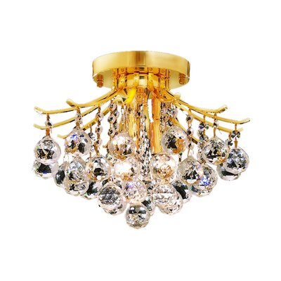 McAllen 3-Light Semi Flush Mount Finish: Gold, Crystal Grade: Elegant Cut