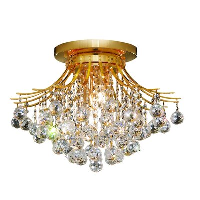 McAllen 6-Light Semi Flush Mount Finish: Gold, Crystal Grade: Strass Swarovski