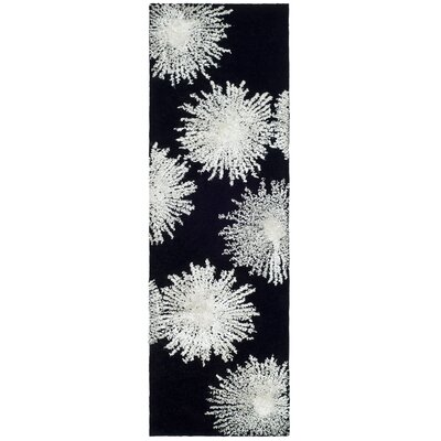 Germain Hand-Tufted Black Area Rug Rug Size: Runner 26 x 8