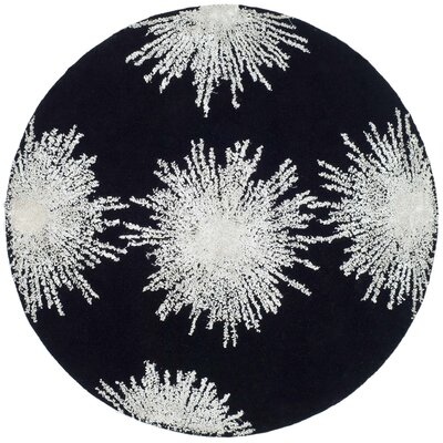 Germain Hand-Tufted Black Area Rug Rug Size: Round 8