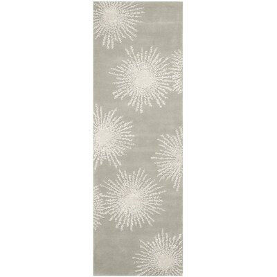 Germain Hand-Tufted Wool Grey/Ivory Area Rug Rug Size: Runner 26 x 8