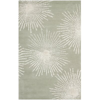 Germain Hand-Tufted Grey/Ivory Geometric Area Rug Rug Size: 36 x 56