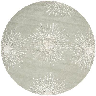 Germain Hand-Tufted Grey/Ivory Geometric Area Rug Rug Size: Round 6 x 6