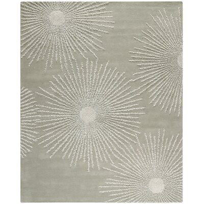 Germain Hand-Tufted Grey/Ivory Geometric Area Rug Rug Size: 96 x 136