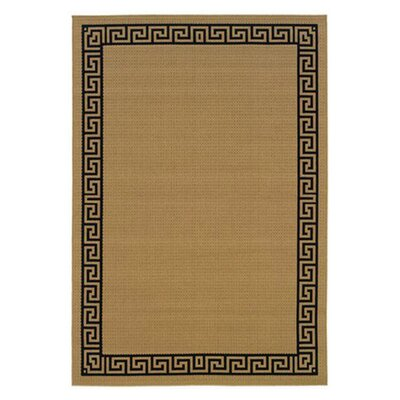 Houlton Beige/Black Indoor/Outdoor Area Rug Rug Size: 37 x 56