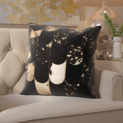 Cinderford Natural Leather Throw Pillow Color: Black